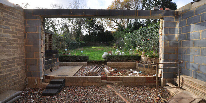 lounge area as part of extension work