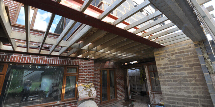 steelwork in place