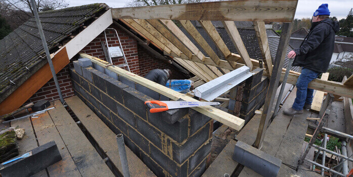 two storey extension in progress