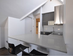 Loft conversion showing kitchen