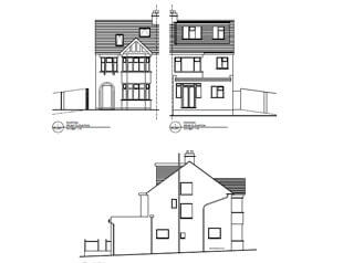 Architectural plans of side extension