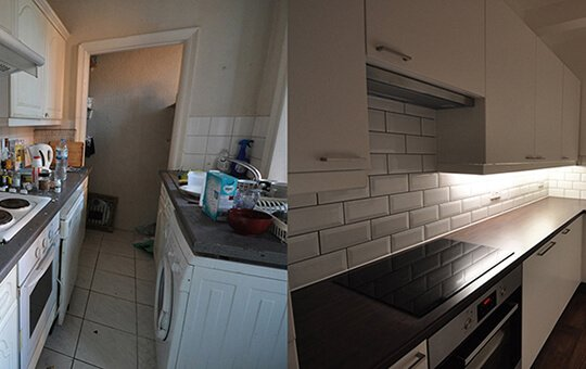 Before and After of Gisburn Kitchen area