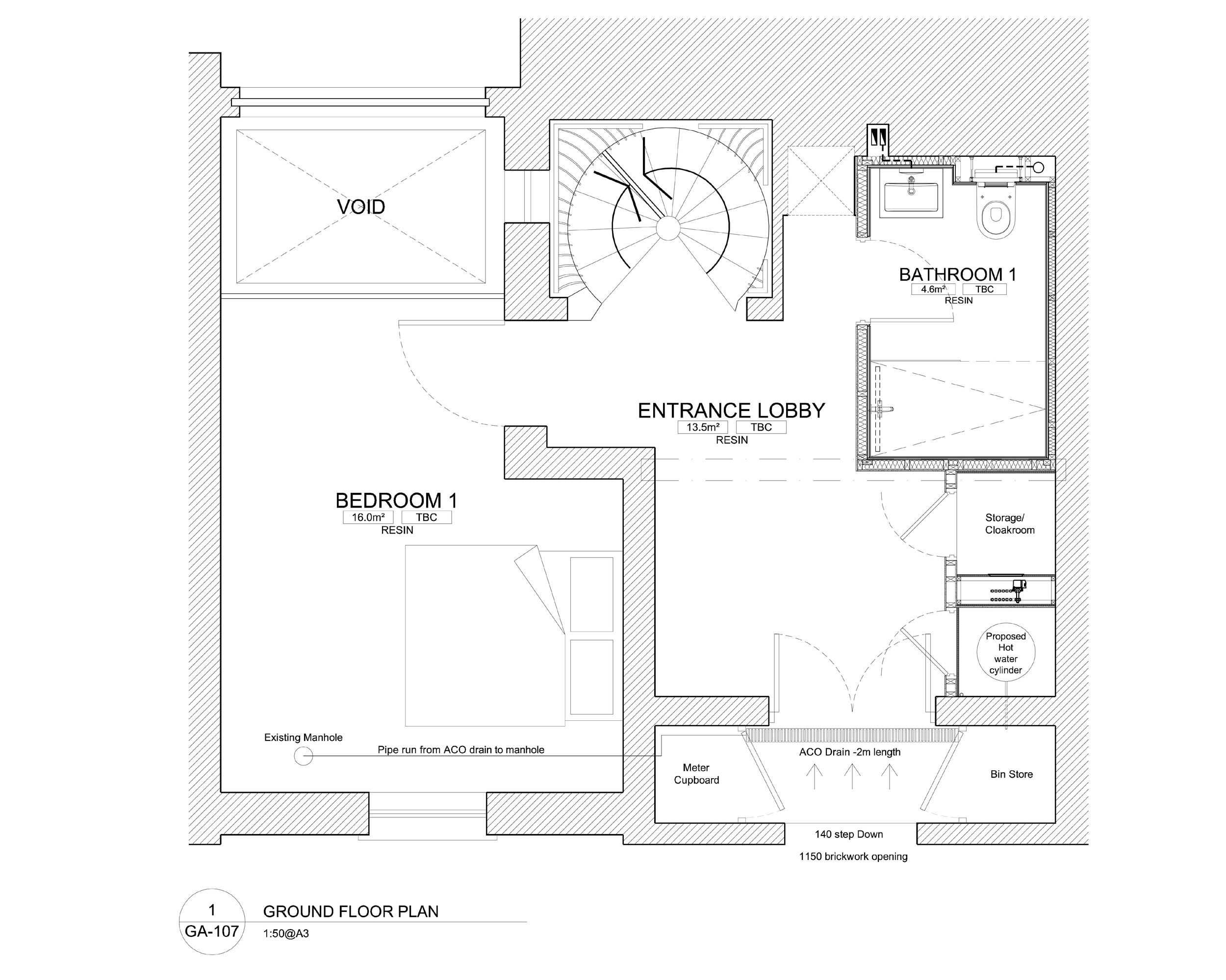 Architectural floor layout at Ladbroke Road property