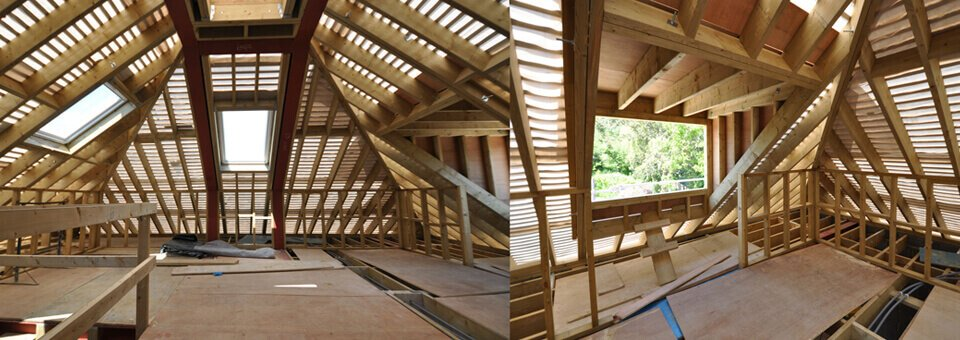 Loft conversions London property roof being designed