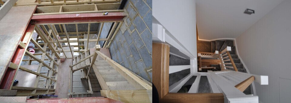 Loft conversion and stairwell of London property