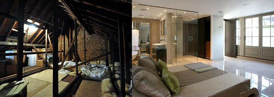 Loft conversion before and after